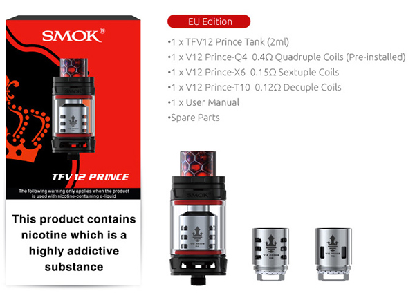 Clearomiseur TFV12 Prince 2 ml par Smok
